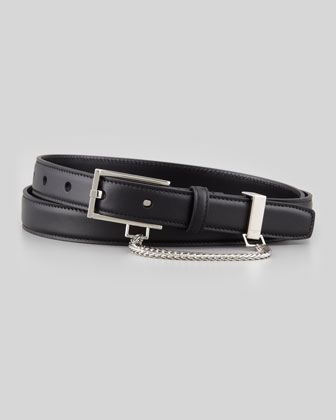 Men's Slim Belt with Chain Detail, Black