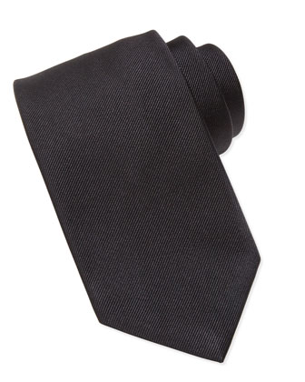 Silk-Faille Tie, Black