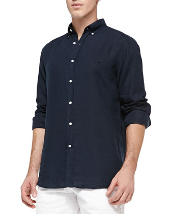 Long-Sleeve Linen Classic-Fit Shirt, Navy