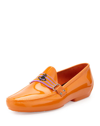 PVC Beaded-Strap Moccasin, Orange