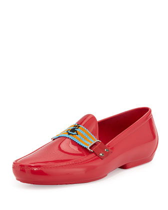 PVC Beaded-Strap Moccasin, Pink