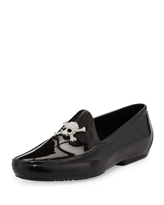 PVC Skull-Ornament Moccasin, Black
