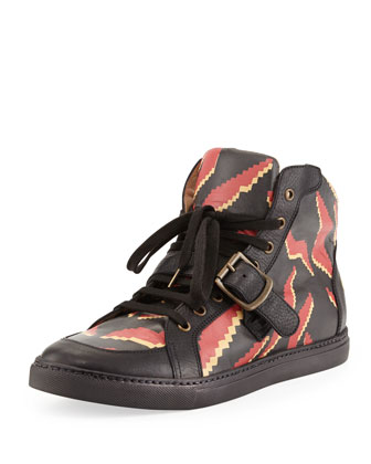 Men's Tiger-Print High-Top Sneakers