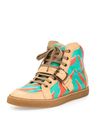 Men's Tiger-Print High-Top Sneakers, Cream/Teal/Orange