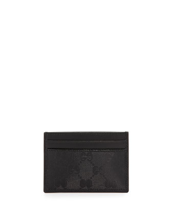 GG Imprime Leather Card Case, Black