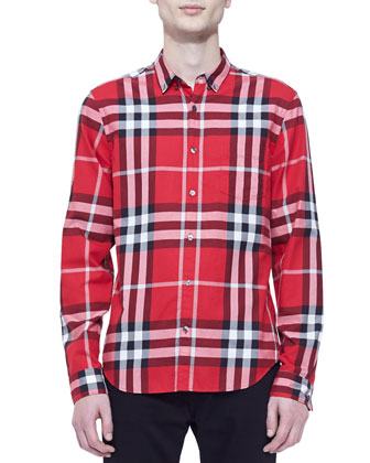 Poplin Classic-Check Long-Sleeve Shirt, Red