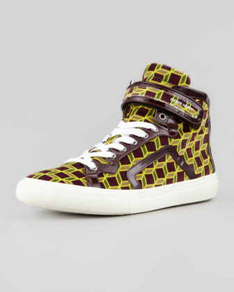 Cube-Print Velvet High-Top Sneaker