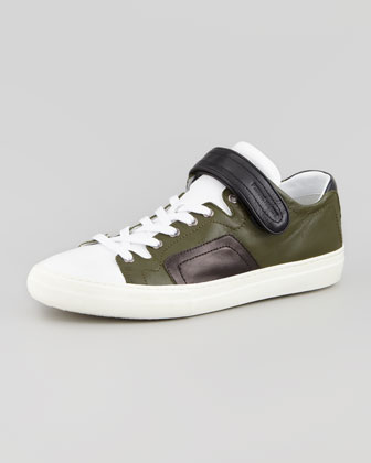 Multicolor Grip-Strap Low-Top Sneaker, Dark Green/Black