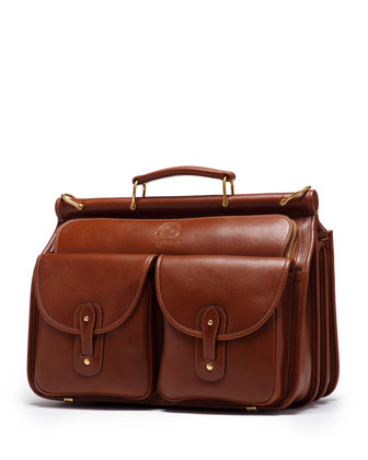 Garrison Leather Gusset Briefcase, Vintage Chestnut