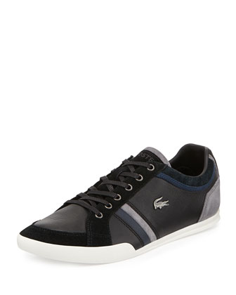 Rayford Striped Leather Sneaker, Black
