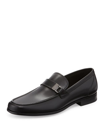 Tazio Gancini-Buckle Loafer, Black