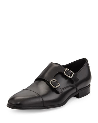 Addo Double-Monk-Strap Shoe, Black