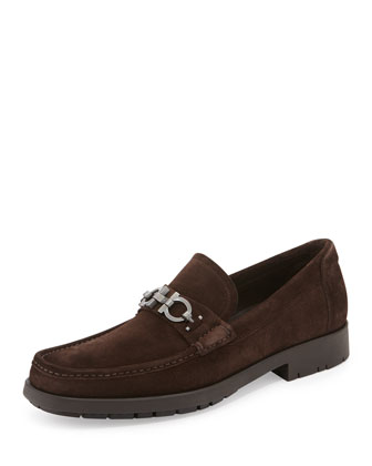 Master Gancini-BIt Suede Loafer, Brown