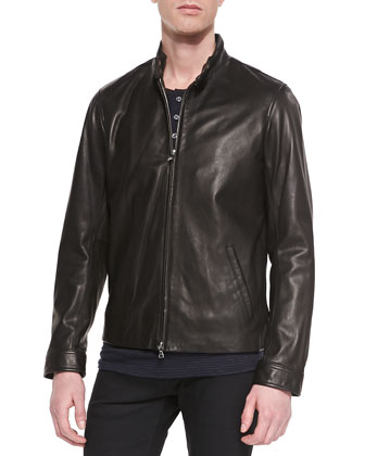 Harrington Leather Moto Jacket, Black