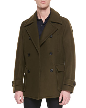 Wool-Blend Pea Coat & Button-Down Check Sport Shirt