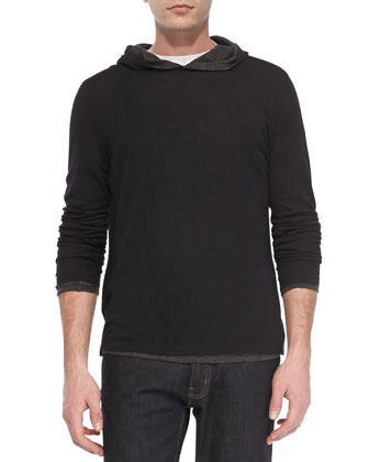 Double-Layer Hoodie Pullover, Black