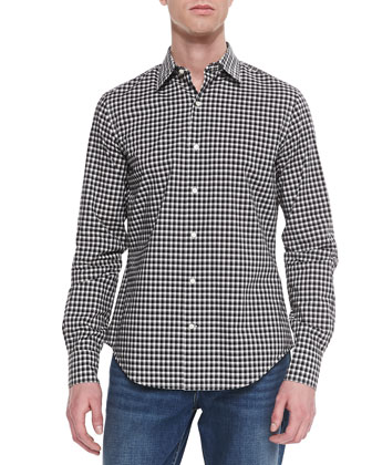 Check Button-Down Sport Shirt, Black