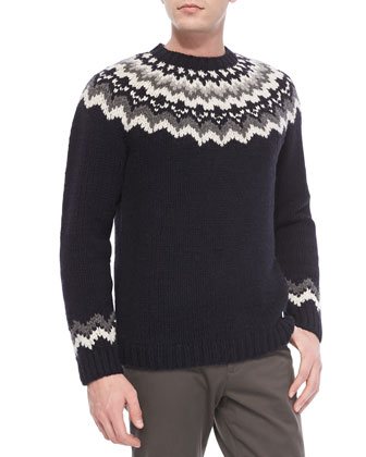 Nordic Hand Knitted Sweater, Coastal Navy