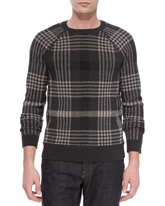 Plaid Wool-Blend Sweater