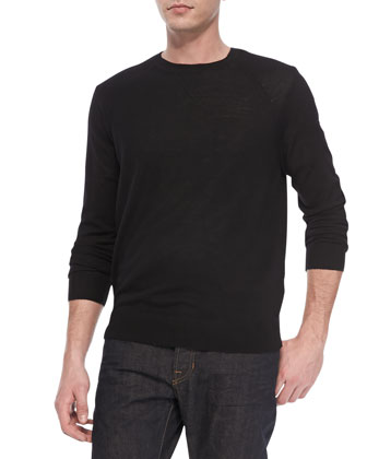 Long Sleeve Lightweight Merino Wool Sweater, Black