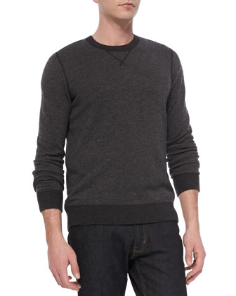 Birdseye Long-Sleeve Crewneck Sweater, Black
