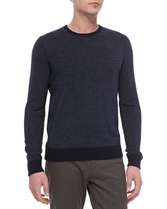 Birdseye Long-Sleeve Crewneck Sweater, Coastal Navy