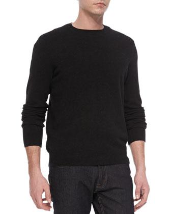 Cashmere Long-Sleeve Crewneck Sweater, Black