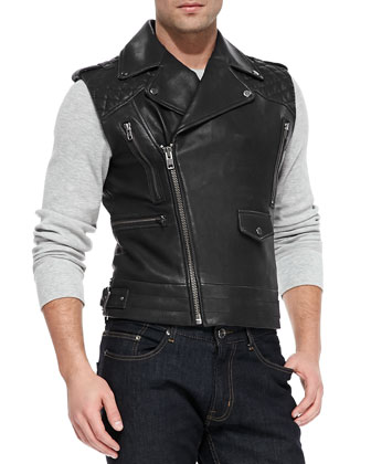 Jagger Asymmetrical Quilted Leather Vest, Black