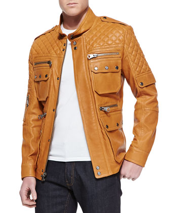 Flynn Leather Field Jacket, Light Cognac