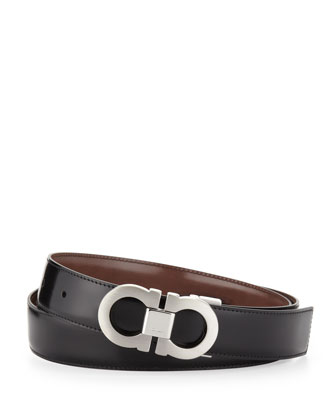 Double-Gancini Reversible Calfskin Belt, Black/Brown