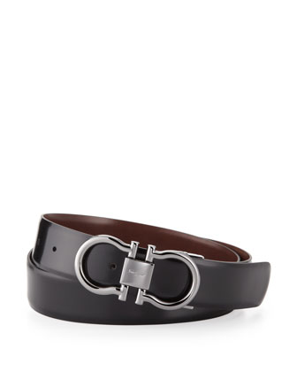 Reversible Double Gancini Belt, Brown/Black