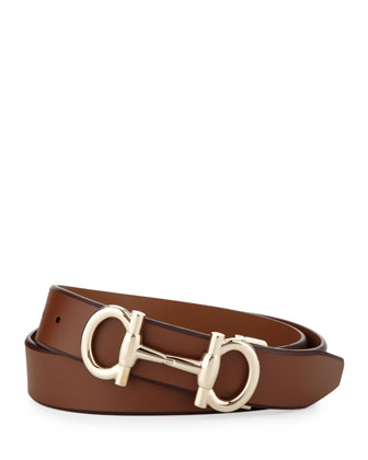 Gancini-Bit Leather Belt, Tan