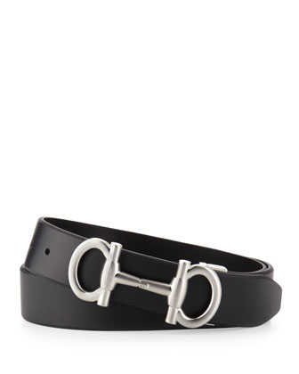 Double Gancini Calfskin Belt, Black