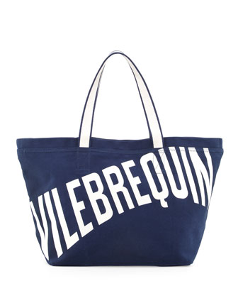 Men's Logo Canvas Tote Bag, Navy