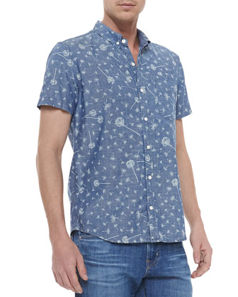 Dandelion-Print Short-Sleeve Button-Front Shirt, Blue