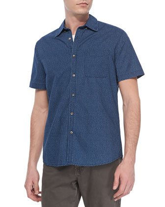 Dot Print Short Sleeve Shirt, Dark Sky
