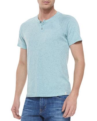 Raglan Short-Sleeve Henley, Seascape