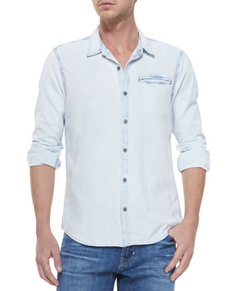 Long-Sleeve Button-Front Poplin, Convoy Rinse