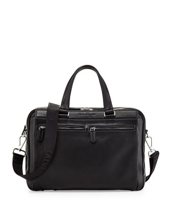 Functional Leather Computer Briefcase, Black