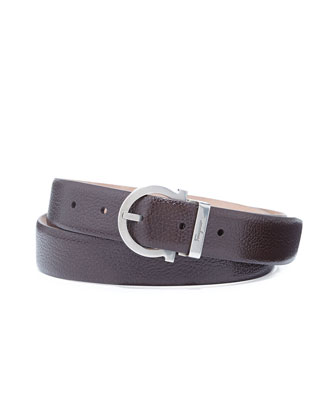 Pierre Pebbled Gancio Belt, Dark Brown