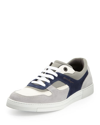 Rey Suede/Leather Low-Top Sneaker, Gray/White