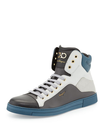 Stephen Men's Leather High-Top Sneaker, Multi