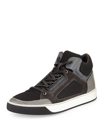 Rubberized Mesh & Calfskin High-Top Sneaker, Dark Gray