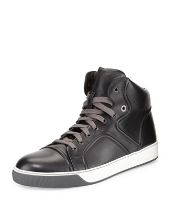 Piped Leather High-Top Sneaker, Black