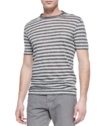 Striped Linen-Knit Tee, Dark Gray