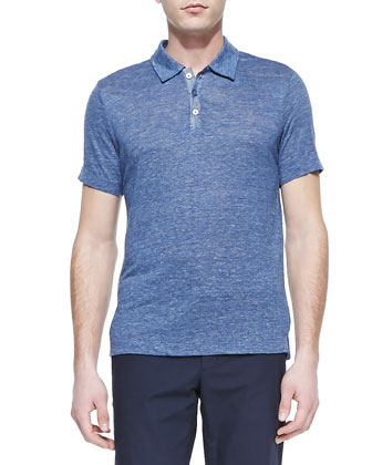 Lightweight Linen-Knit Polo, Navy