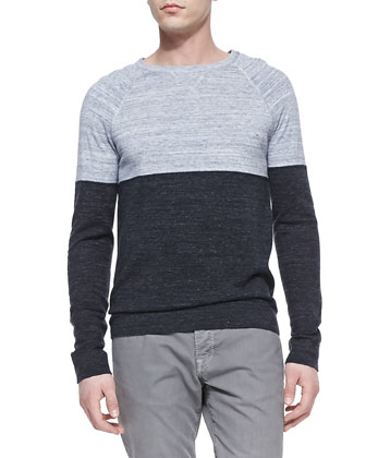 Marled Colorblock Crewneck Sweater, White/Navy