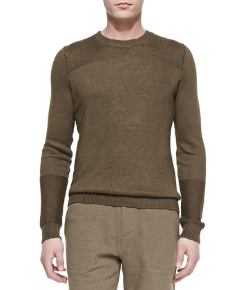 Cotton-Knit Crewneck Sweater, Light Olive