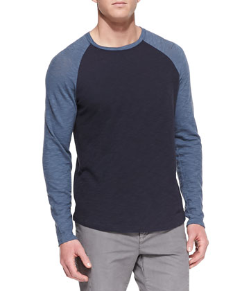Slub Long-Sleeve Baseball Tee, Navy