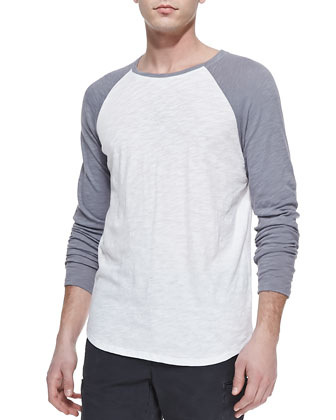 Slub Long-Sleeve Baseball Tee, White/Gray